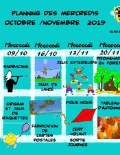 Planning octobre/novembre 2019